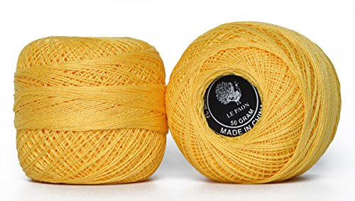 LE PAON 50g Cotton Sewing Thread in Balls 100% Pearl Mercerized Cotton Crochet& Knitting Thread Also for Hardanger Friendship Bracelets Total 1000yards 2 Balls (Color No.:743) ...