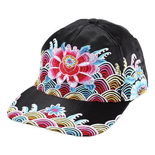 Vintage Embroidered Men Women Baseball Cap Adjustable (Black + Blue + White + Golden, Cotton)