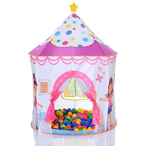 LCP KIDS Pop Up Spielzelt Prinzessin als Kinder Spielhaus und Bällebad mit 100 bunten Bällen