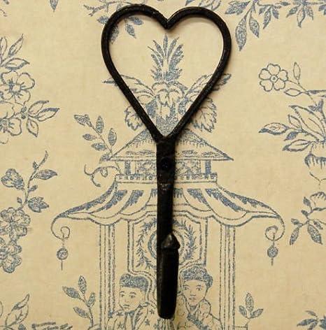 Forjadas a mano hierro gancho perchero con forma de corazón ...