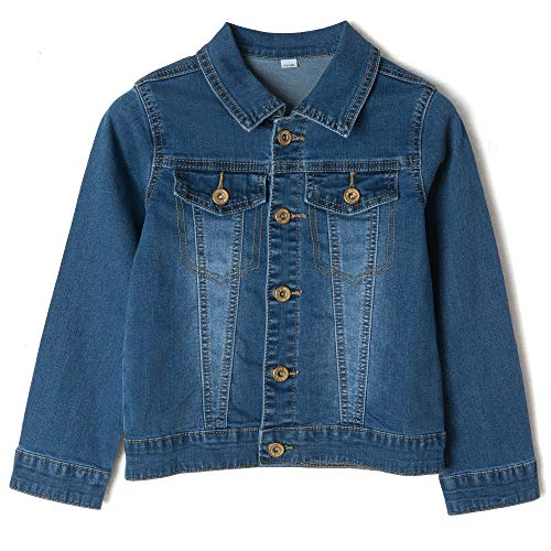 Eliacher Girls' Denim Trucker Jacket Long Sleeve Classic Basic Jean Jacket Coats Age 2-15 Years (7-8 Years/Height 128, Denim Blue Washed) ()