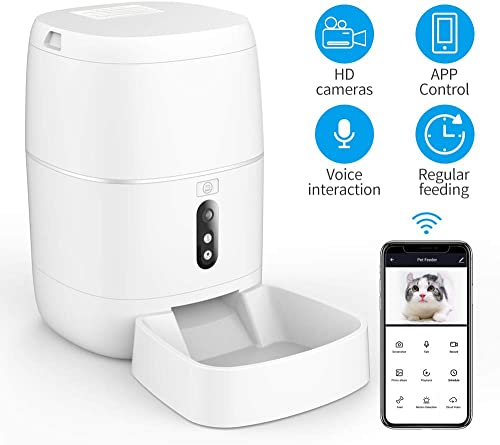 SDETER Pet Feeder Camera, Dog Automatic Treat Dispenser, Full HD 1080P WiFi Live Video Camera with Two Way Audio Night Vision, Android and iOS Phone Remote Control