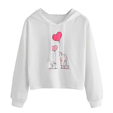 c0b47ec58b29 HARRYSTORE Fashion Women Crop Jumpers Elephant and Rabbit Print ...