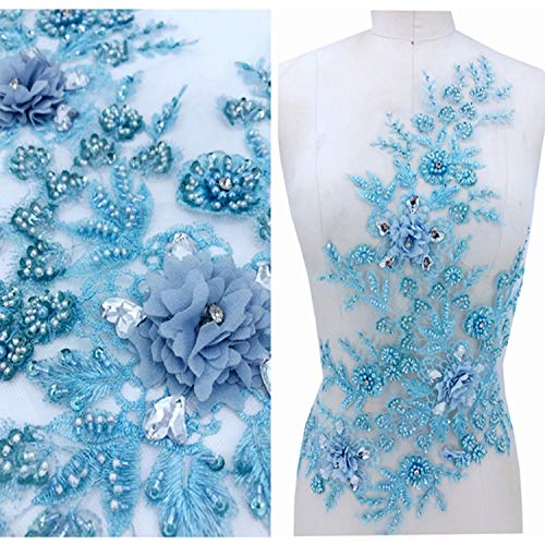 - Beaded Blossom Lace Applique Blue Embroidery Flower Patch Rhinestone Sequins Details for Prom Dress Bodices Blue Color