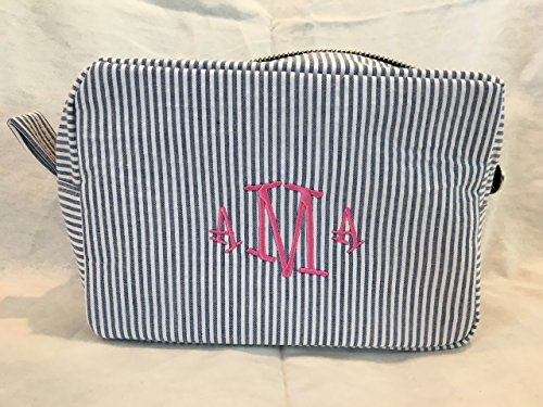 Navy Blue and White Seersucker Make Up Bag, Custom Cosmetic Bag, Personalized Cosmetic Bag by Daisy Dade