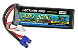 Lectron Pro 14.8V 3000mAh 30C with EC3 Connector for High-Performance Edf Jets & Quadcopters Lipo Battery