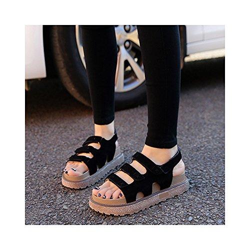 OCHENTA Romana sandalias de plataforma zapatos del estudiante de velcro yardas grandes #04 Negro