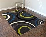 Studio 10 Modern Area Rug Design # ST 605 Charcoal (5 Feet 2 Inch X 7 Feet 1 Inch)