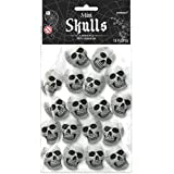 """Amscan Haunted Mansion Halloween Party Mini Skull Decoration (Pack of 18), White, 1 1/2"""" x 2"""""""