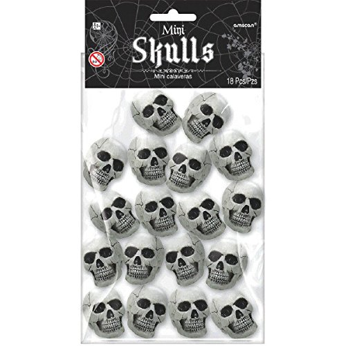 Halloween Haunted Mansion (Amscan Haunted Mansion Halloween Party Mini Skull Decoration (Pack of 18), White, 1 1/2