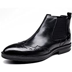 Zorgen Men's Ankle Boots Genuine Leather Chelsea Boots Rubber Sole Fashion Chukka Dress Boots
