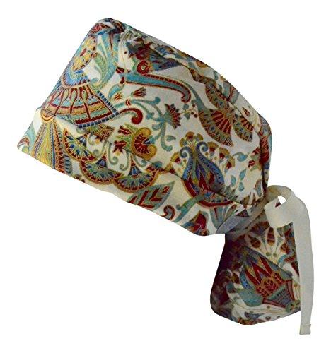 Womens Pony Tail Scrub Hat 2, Cap, Many Pattern Choices (Spice 2)