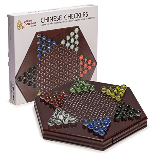 Chinese Checkers, Halma Wooden Game Set with Drawers and - Sunglasses Flag German