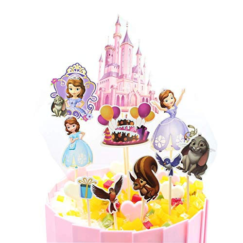 Sofia the First Cupcake Toppers Birthday Party Supplies,Cake Decoration Baby Showerfor for Kids Birthday Party- Set of 11 (SFE-11PACK) -