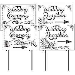 "VictoryStore Yard Sign Outdoor Lawn Decorations: Wedding Directional Sign 2 'Wedding Ceremony' - 2 'Wedding Reception' 18""x 24"" Printed 2 Sided - w/ 4 EZ Stakes"