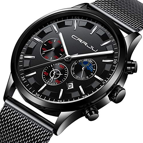 - Mens Watch Military Waterproof Chronograph Date Black Stainless Steel Mesh Wrist Watch Classic Luxury Business Designer Moon Phase Quartz Watches for Men - Silver