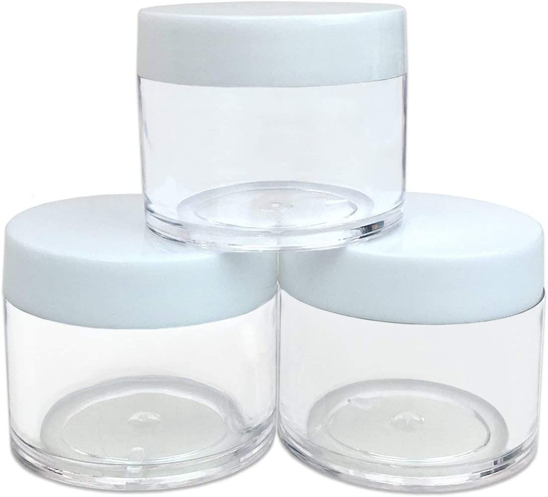Beauticom High Quality 30G/30ML (1 Oz) Round Clear Jars with White Lids for Cosmetics, Medication, Lab and Field Research Samples, Beauty and Health Aids - BPA Free (Quantity: 3 Pieces) [並行輸入品]