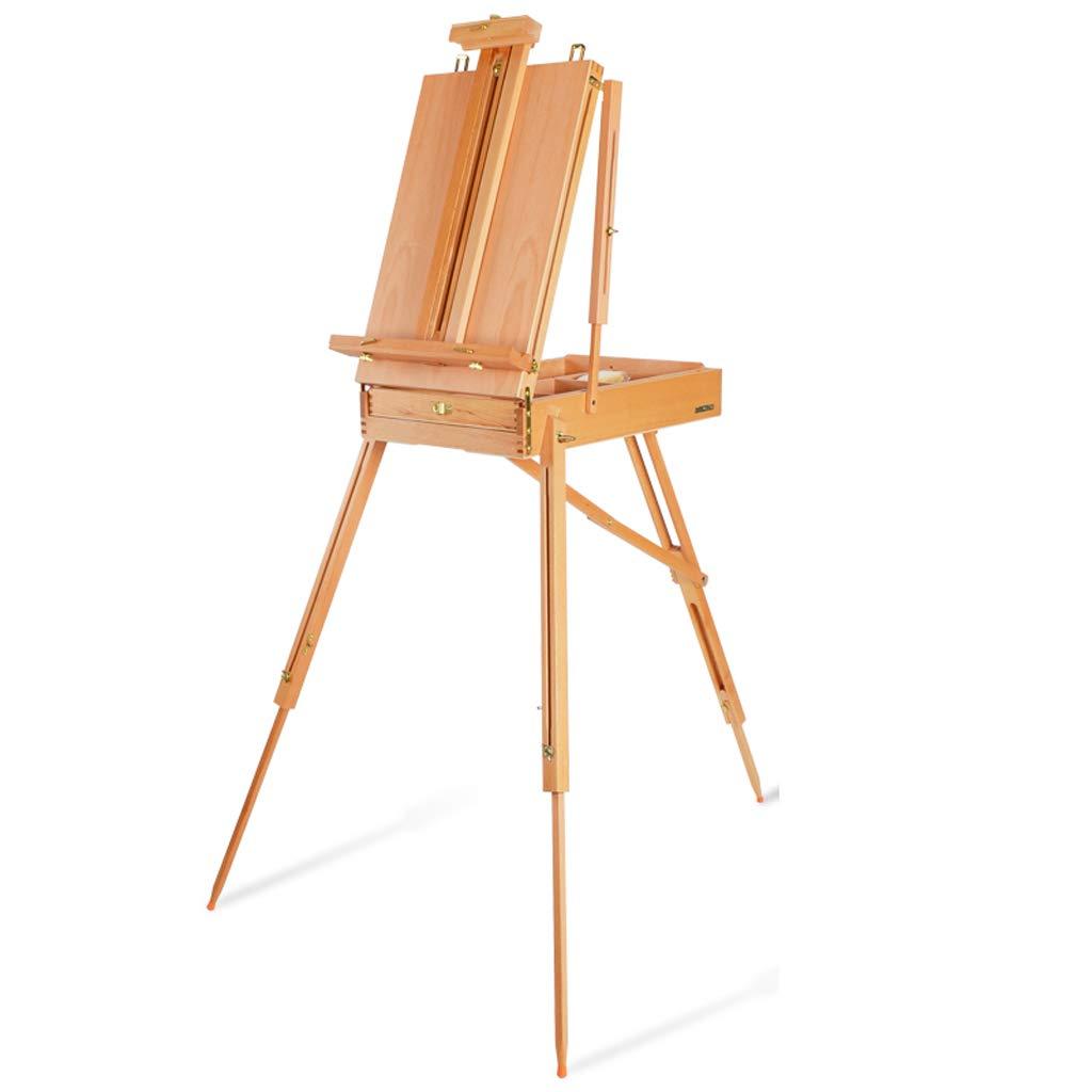 木製の多機能の大人の携帯用芸術の絵画道具箱は、上下に折ることができます、折りたたむことができます、スケッチ棚、任意3色 JSSFQK (色 : ウッドカラー) B07S3SJ7ZZ ウッドカラー
