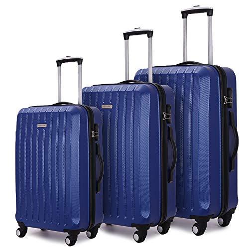 COOMEE 3 PCS Luggage Set Lightweight Hardshell Suitcase Set,Cobalt Blue