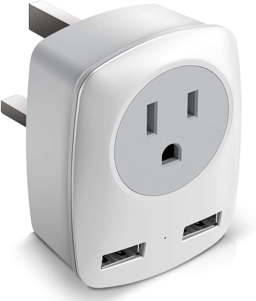 UK Travel Adapter, US to UK/Ireland/Hong Kong Plug Adapter with 2 USB and 1 Electrical Outlet, America to Europe Irish British England Scotland Travel Adaptor (Type-G)