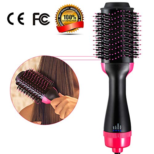 One Step Hair Dryer Volumizer, Hot Air Brush 3-IN-1 Negative Ions Hair Dryer, Curler and Straightener for All Hair Types Black