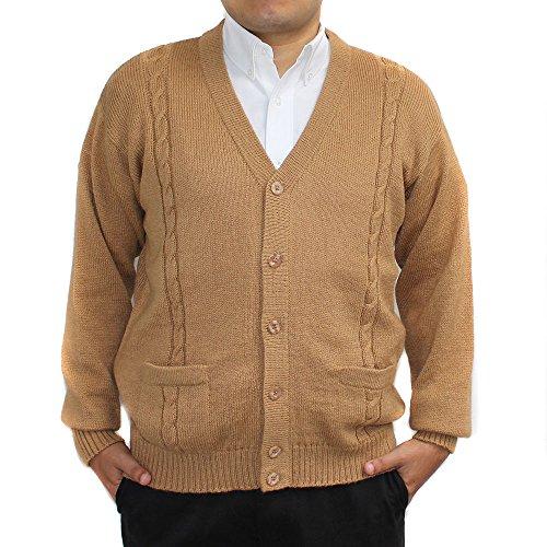 - CELITAS DESIGN Alpaca Cardigan Golf Sweater Jersey BRIAD V Neck Buttons and Pockets Made in Peru Camel M