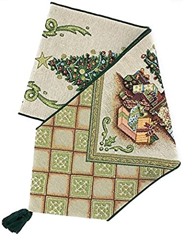 Manual Christmas Elegance Decorated Tree Unlined Tapestry Tablerunner UMCH72 72x13