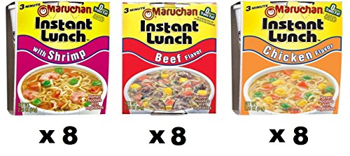 Maruchan Instant Lunch Variety Pack with Chicken, Beef, Shrimp, 2.25 Oz (Pack of ()