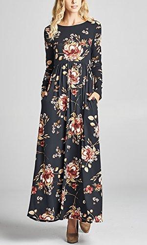 Elegantes Redondo Con Largos Cuello Bolsillos De Vestido Manga Cóctel Fiesta Con Negro Larga Vestir Vestir Flores Maxi Impresión Mujer Vestidos Volantes De nqIUff