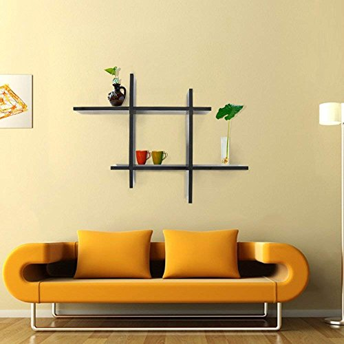 Homevol Wall Decor Shelves,Reversed Criss Cross Wall Shelf Mounted Home Decor Furniture (Black)