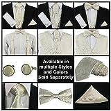 GASSANI MACARIO Pretied Ascot Tie Cravat, Pocket Square & Cufflinks Set