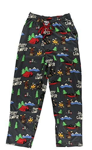 Happy Camper-Bear, Moose, Raccoon PJ Pant by LazyOne,Grey,X-Large