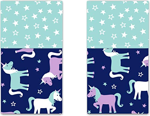 Funkins Cloth Placemats for Kids | School Lunches | Reusable, Eco-Friendly | 2-Ply, Durable | Set of 2, 15''x13'' Cotton Placemats | Magical Unicorns by Funkins