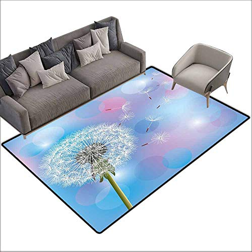 - Corridor Rug Colorful Dandelion,Bokeh Background Flower with Wind Blowing Seeds Gardening Plants,Sky Blue Pale Pink Green 48