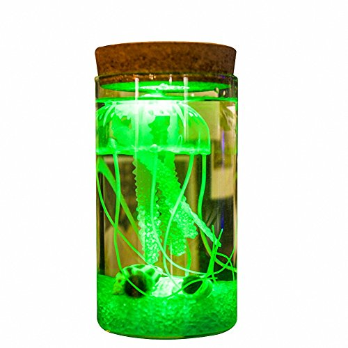 (OMEM Seaweed Balls LED Jellyfish Bottles, Algae Moss Balls Seed Glass Jar Aquarium Terrarium Kit, Best Birthday Present (Have Remote Control, Green))