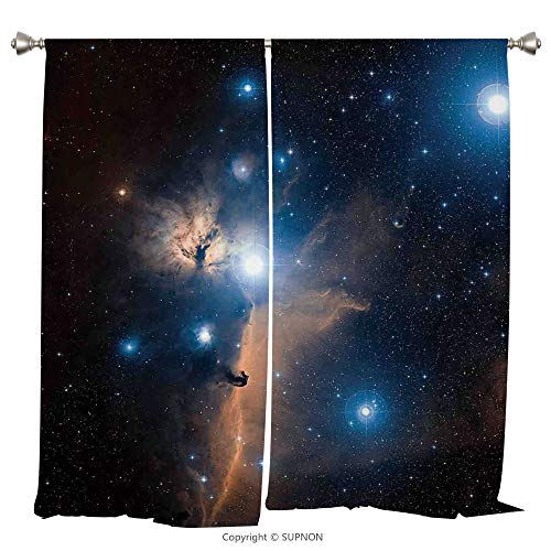 Rod Pocket Curtain Panel Thermal Insulated Blackout Curtains for Bedroom Living Room Dorm Kitchen Cafe/2 Curtain Panels/108 x 90 Inch/Space Decorations,Nebula Gas Clouds in the Outer Space Moving Imag - Prairie Cup Rose