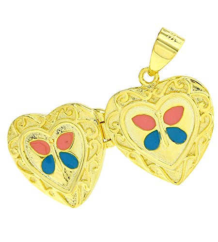 AFFY Jewelry Blue & Peach Enamel Heart Butterfly Charm Pendant Locket In 925 Sterling Silver