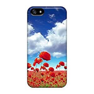 Cute Appearance Cover/tpu Lgz1117sVUE Meadow Full Of Poppies Case For Iphone 5/5s