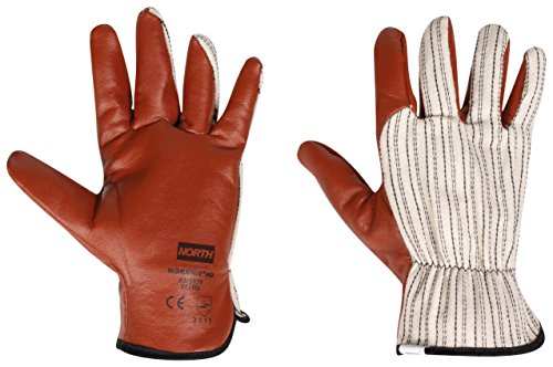 North by Honeywell Worknit Nitrile Supported Cut-Resistant Safety Gloves with Black Stripe, Large (RWS-57002)