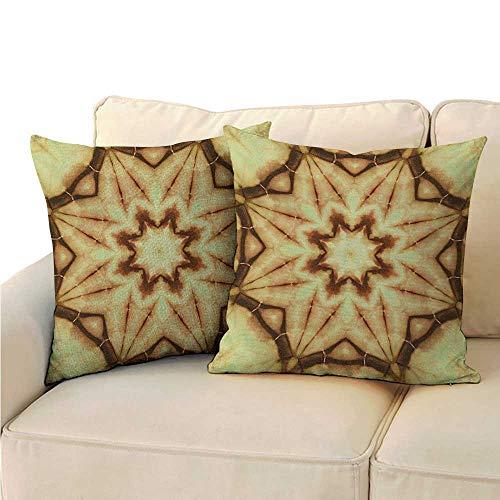 - Ediyuneth Throw Pillow Cushion Cover Mandala,Trippy Ethnic Thai Mandala Motif with Dirty Grunge Smear and Rough Stains Art,Mustard Brown 18