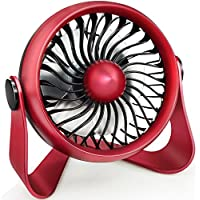 WIOR Quieter Desktop Fan, Aromatherapy Essential Oil Fan to Blow Fragrant Wind, Portable Mini Personal Fan with 4 Speeds Desk Fan Powered by USB or Rechargeable Battery for Office, Table, Travel (Red)