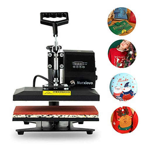 Nurxiovo 12x10 in Heat Press Machine,360 Degree Swing Away Commercial Heat Transfer Machine,Hot Pressing Vinyl Digital Sublimation for T-Shirt,Hat,Mouse Pad,Phone Case,Cotton,Bags,Tablecloth