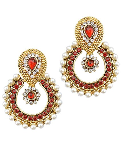 Ramleela Bollywood Inspired Faux Pearl Dangle Earring - Maroon