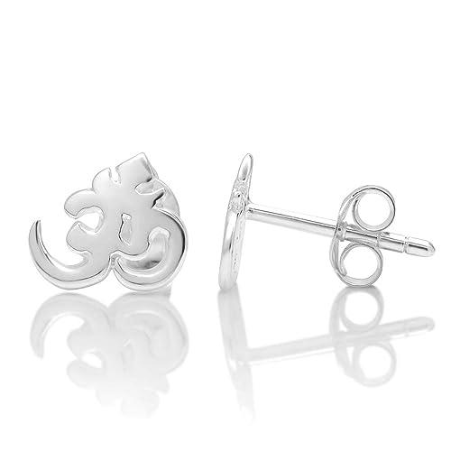 ad1823145b5be 925 Sterling Silver Tiny Yoga Aum, Om, Ohm, Sanskrit 10 mm Post Stud  Earrings