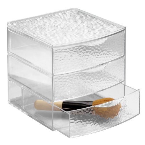 InterDesign Rain Cosmetic Organizer for Vanity Cabinet to Hold Makeup, Beauty Products - 3 Drawers, Clear