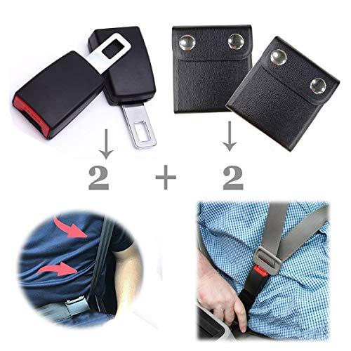 Ansblue Seat Belt Extender (Belt Extension) & Leather Seat Belt Adjuster, Extended Seat Belt + Adjust Seat Belt Position, Let You Drive Car Comfortably - Black / 2+2 PCS