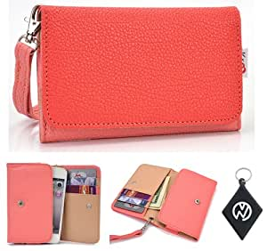 Coral Pink Wallet Phone Cover Wristlet Clutch Case Fits Xolo X500 + NuVur 153; Keychain  ESAMMTPC 
