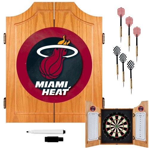 NBA Miami Heat Wood Dart Cabinet Set by Trademark Gameroom