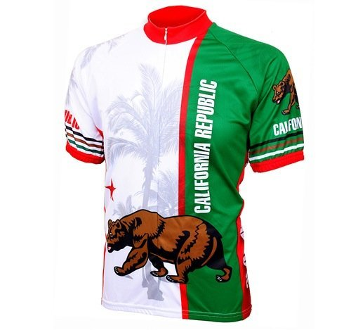 World Jerseys Men's California Republic Cycling Jersey California Republic White & Green X-Large [並行輸入品]   B07HLGX3LX