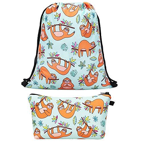 Lingpeng 2-piece set Waterproof Drawstring Bag for Girls,Print Backpack Travel Gym - Gift Bag Drawstring Set